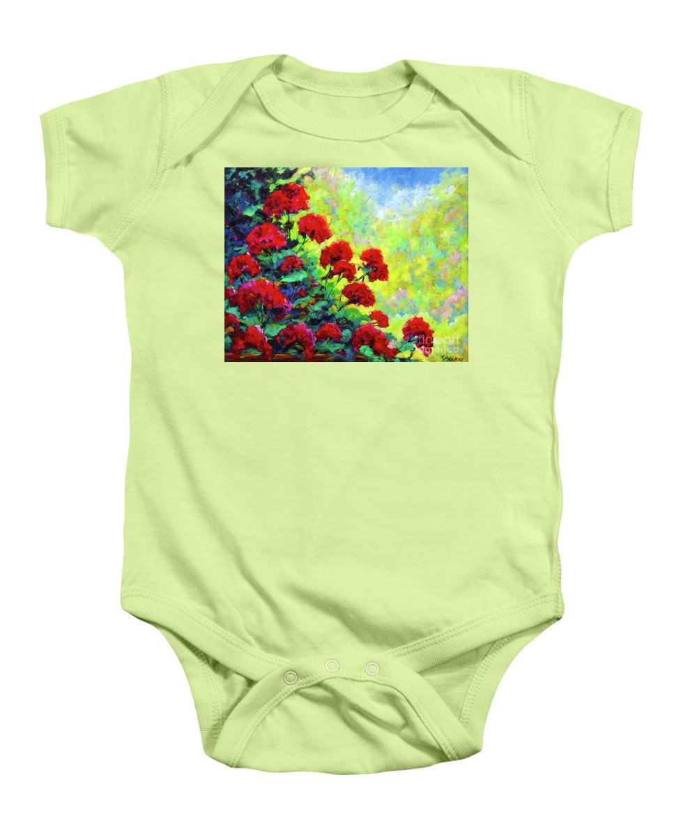 Art Original Baby Onesie featuring the painting Cascade Of Geraniums by Richard T Pranke
