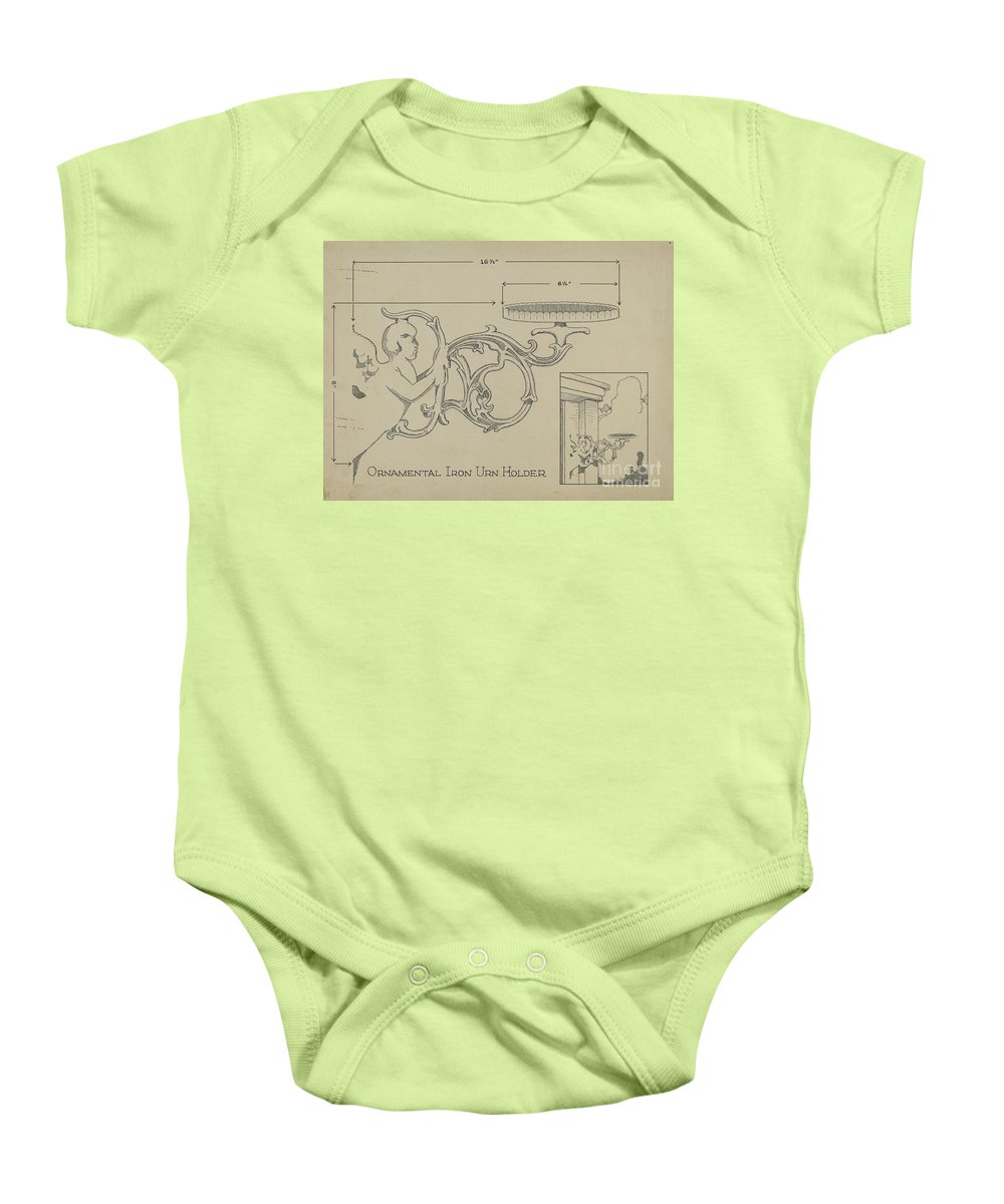 Baby Onesie featuring the drawing Cast Iron Urn Holder by Thomas Byrne