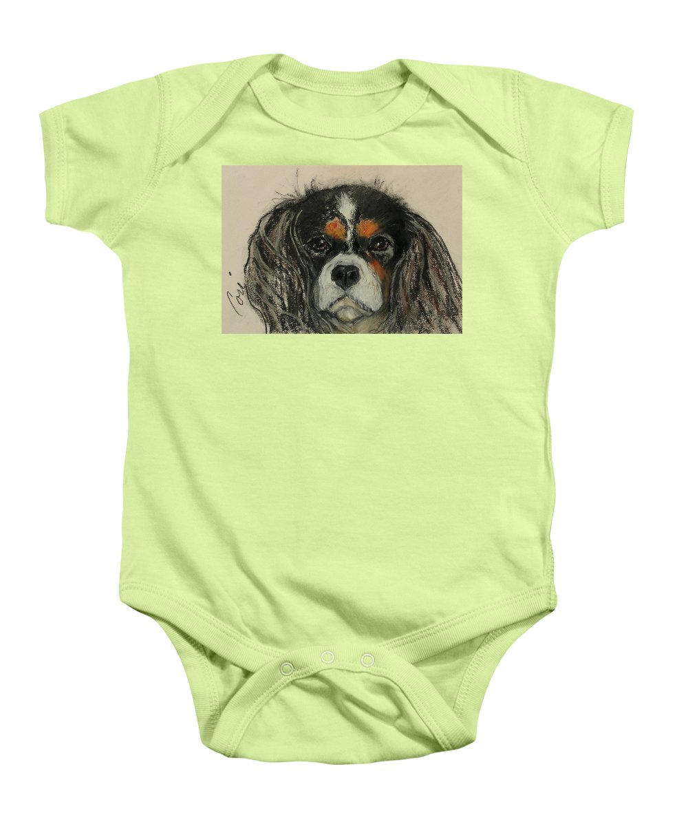 Cavalier Baby Onesie featuring the drawing Cavalier by Cori Solomon
