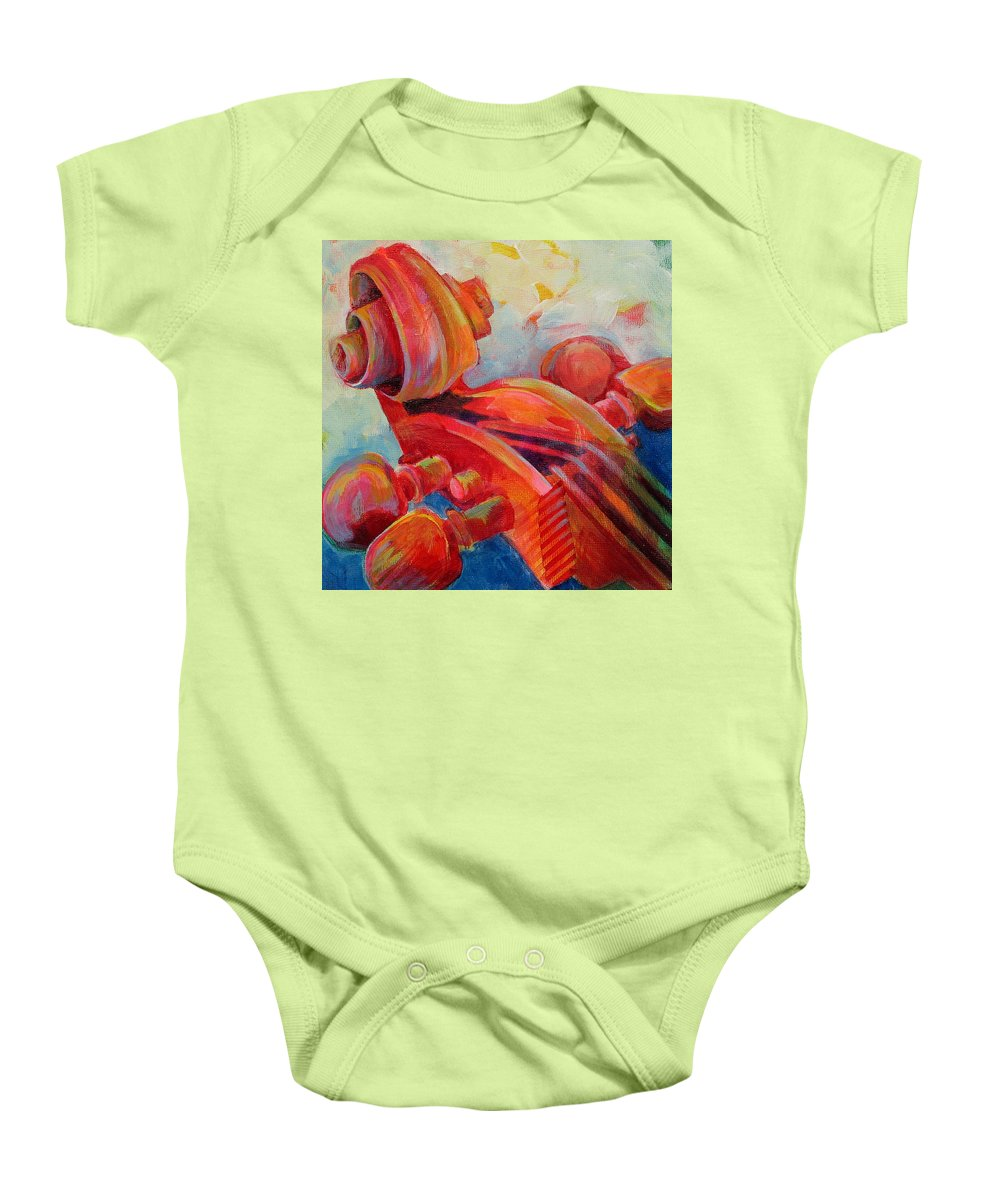Susanne Clark Baby Onesie featuring the painting Cello Head In Red by Susanne Clark