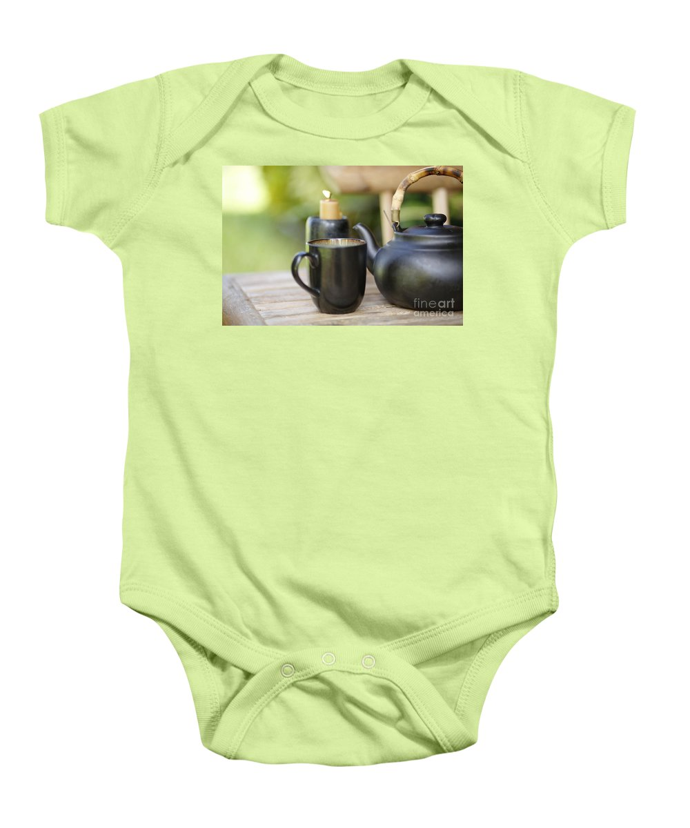 Allure Baby Onesie featuring the photograph Ceramic Tea Set by Kicka Witte - Printscapes