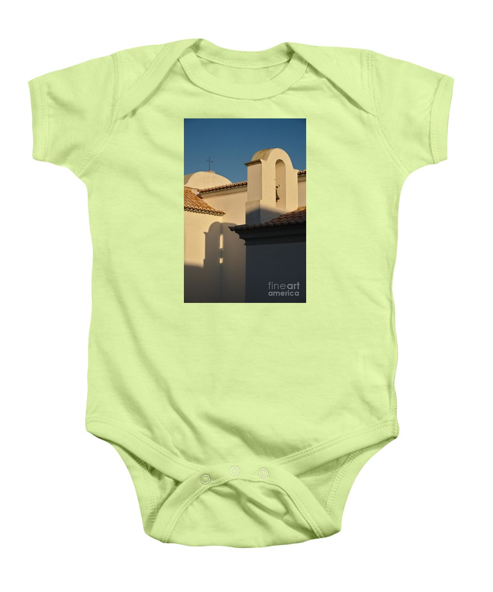 Algarve Baby Onesie featuring the photograph Chapel Architecture In Albufeira by Angelo DeVal