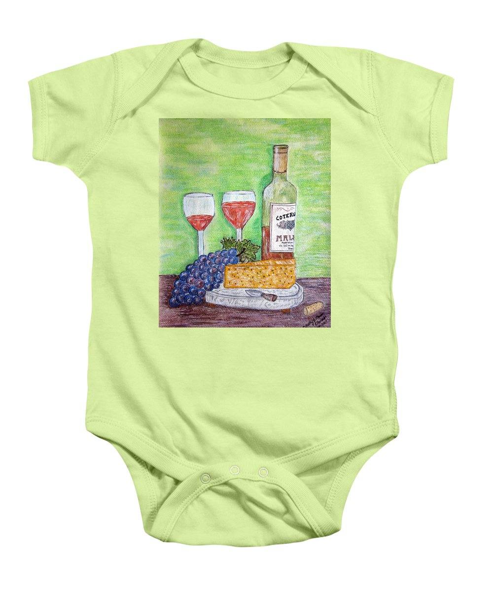 Cheese Baby Onesie featuring the painting Cheese Wine And Grapes by Kathy Marrs Chandler