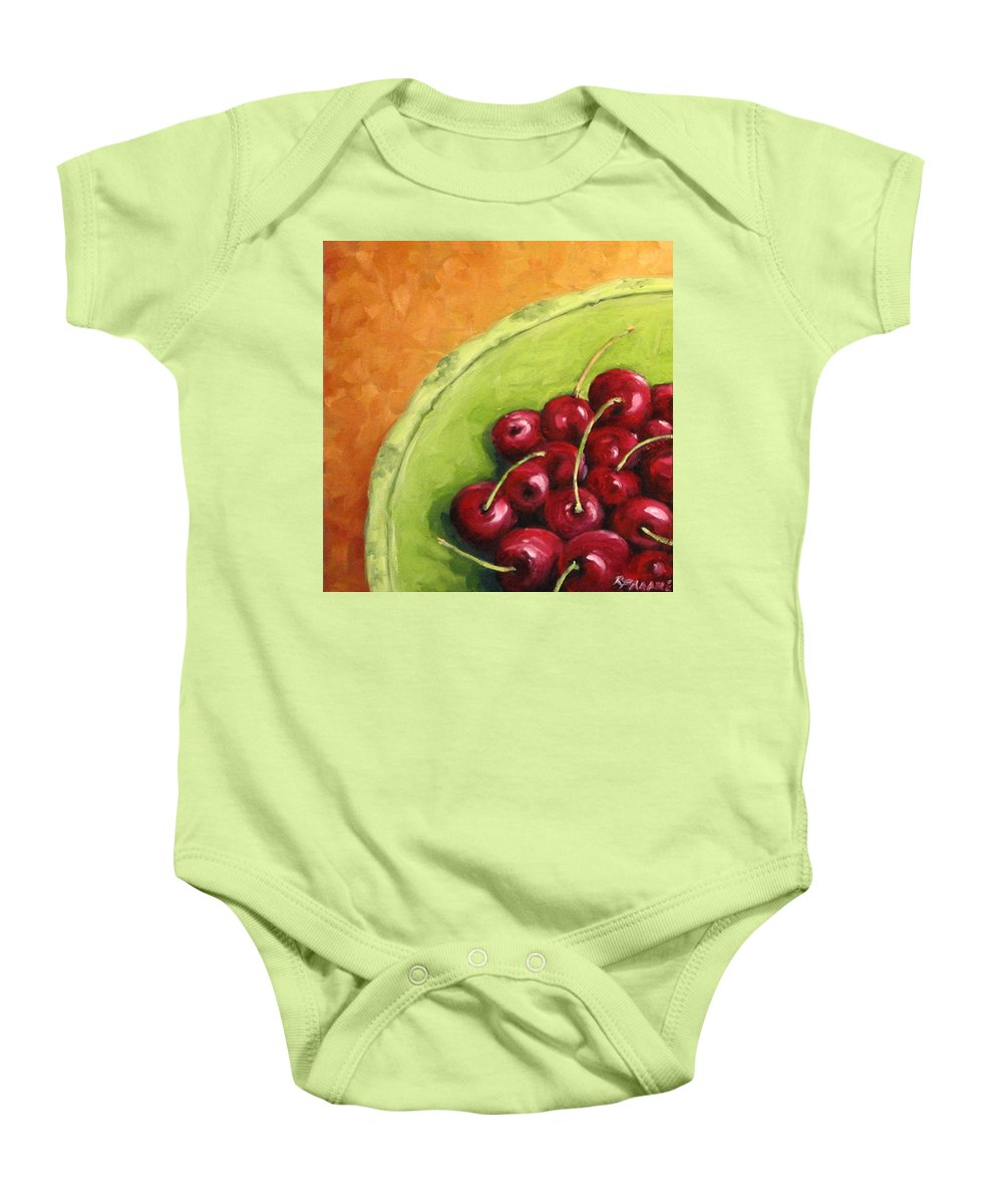 Art Baby Onesie featuring the painting Cherries Green Plate by Richard T Pranke