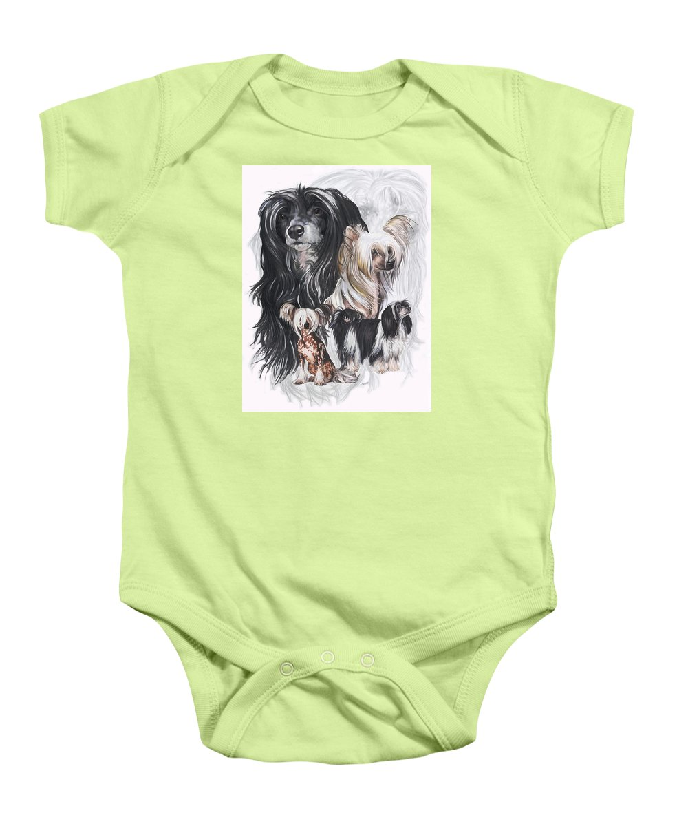 Toy Class Baby Onesie featuring the mixed media Chinese Crested And Powderpuff W/ghost by Barbara Keith