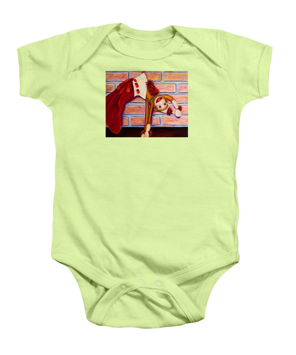 Sock Monkey Baby Onesie featuring the painting Christmas With Care by Shannon Grissom