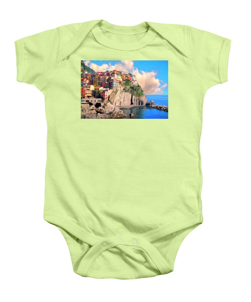 Italy Baby Onesie featuring the painting Cinque Terre by Dominic Piperata
