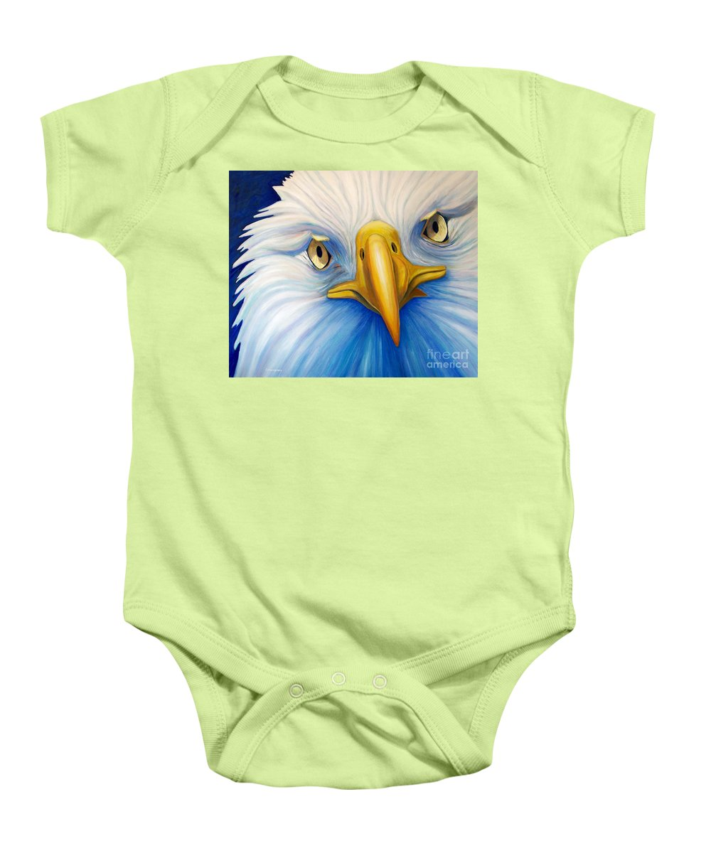 Eagle Baby Onesie featuring the painting Clarity by Brian Commerford