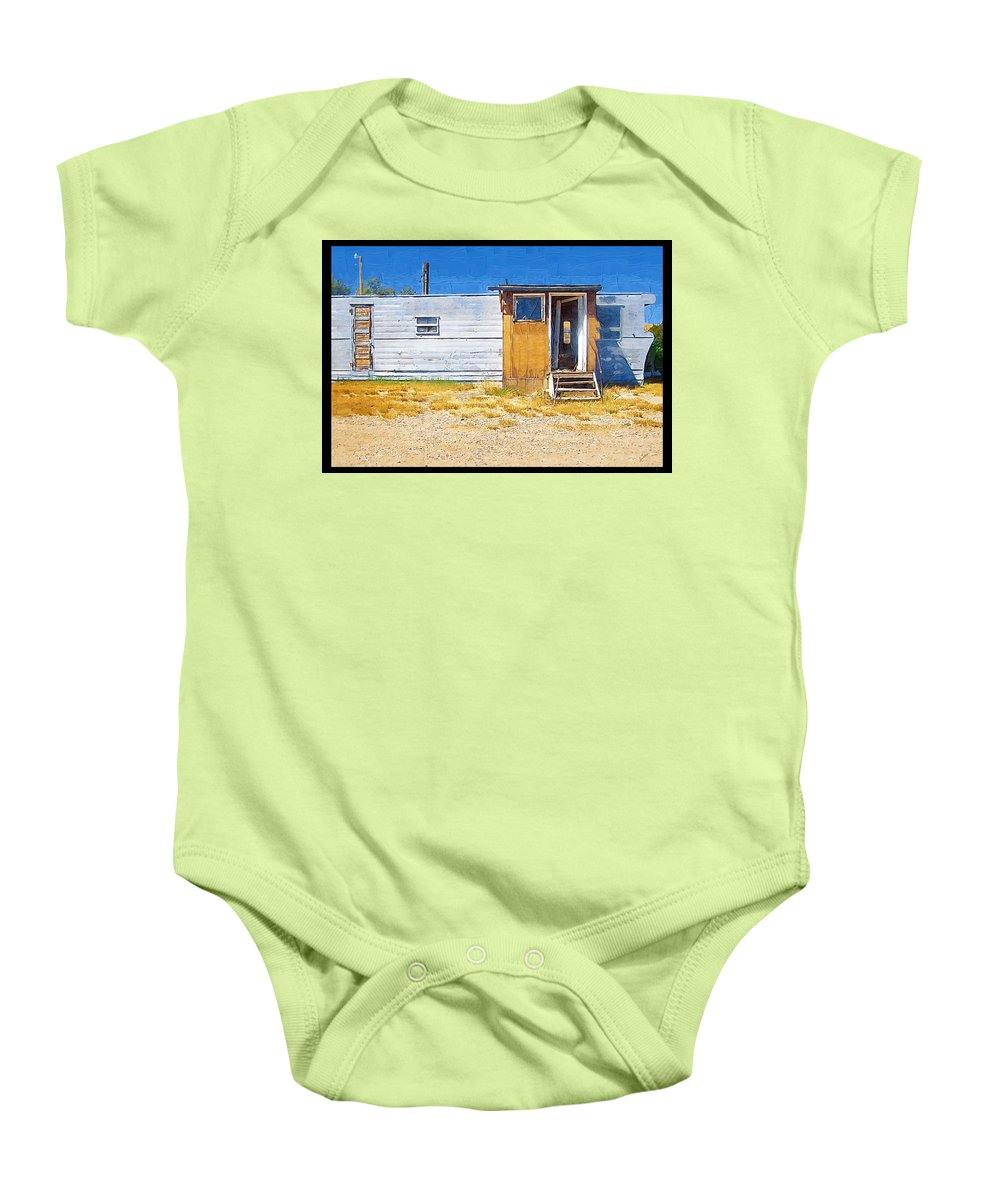 Window Baby Onesie featuring the photograph Classic Trailer by Susan Kinney