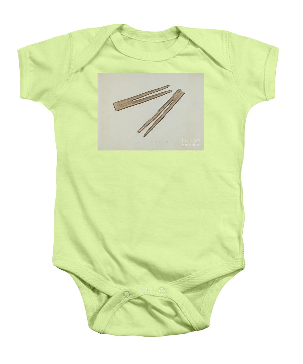 Baby Onesie featuring the drawing Clothes Pins by Robert Gilson