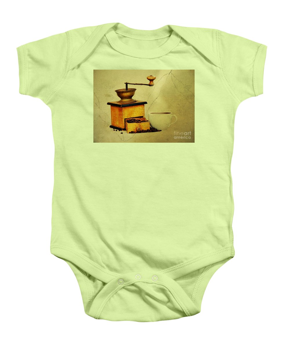 Kaffeeklatsch Baby Onesie featuring the photograph Coffee Mill And Cup Of Hot Black Coffee by Michal Boubin
