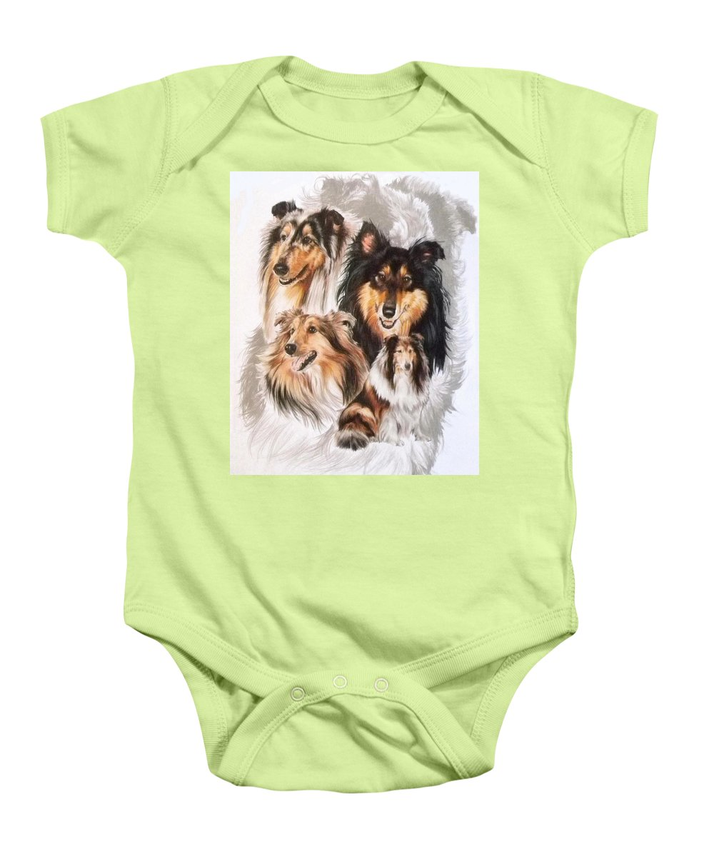 Purebred Baby Onesie featuring the mixed media Collie Revamp by Barbara Keith