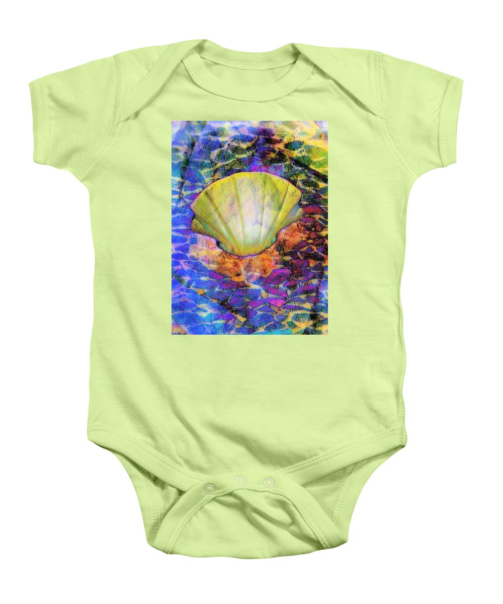 Shell Baby Onesie featuring the digital art Color In Shell by Gina Geldbach-Hall