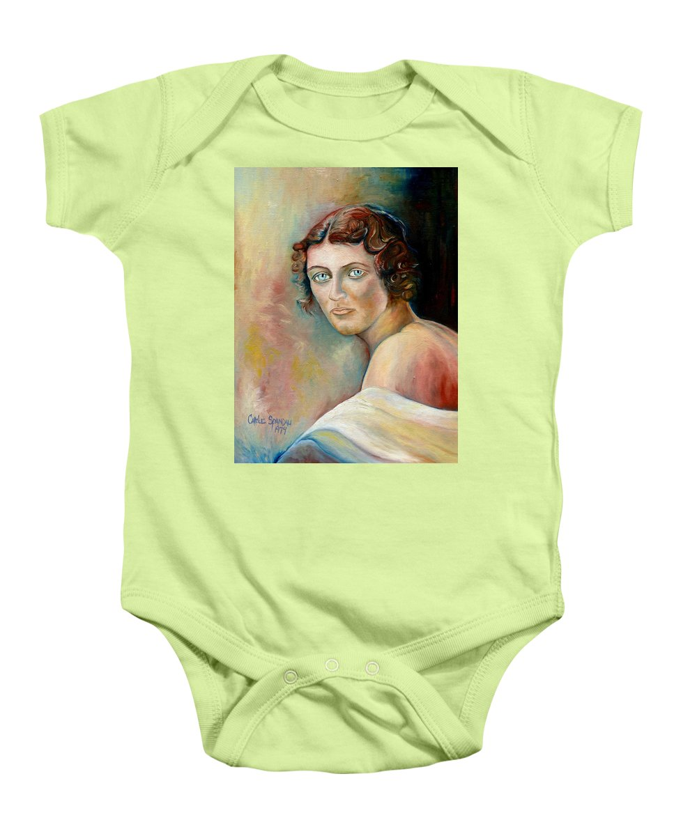 Portrait Baby Onesie featuring the painting Commission Me Your Face by Carole Spandau