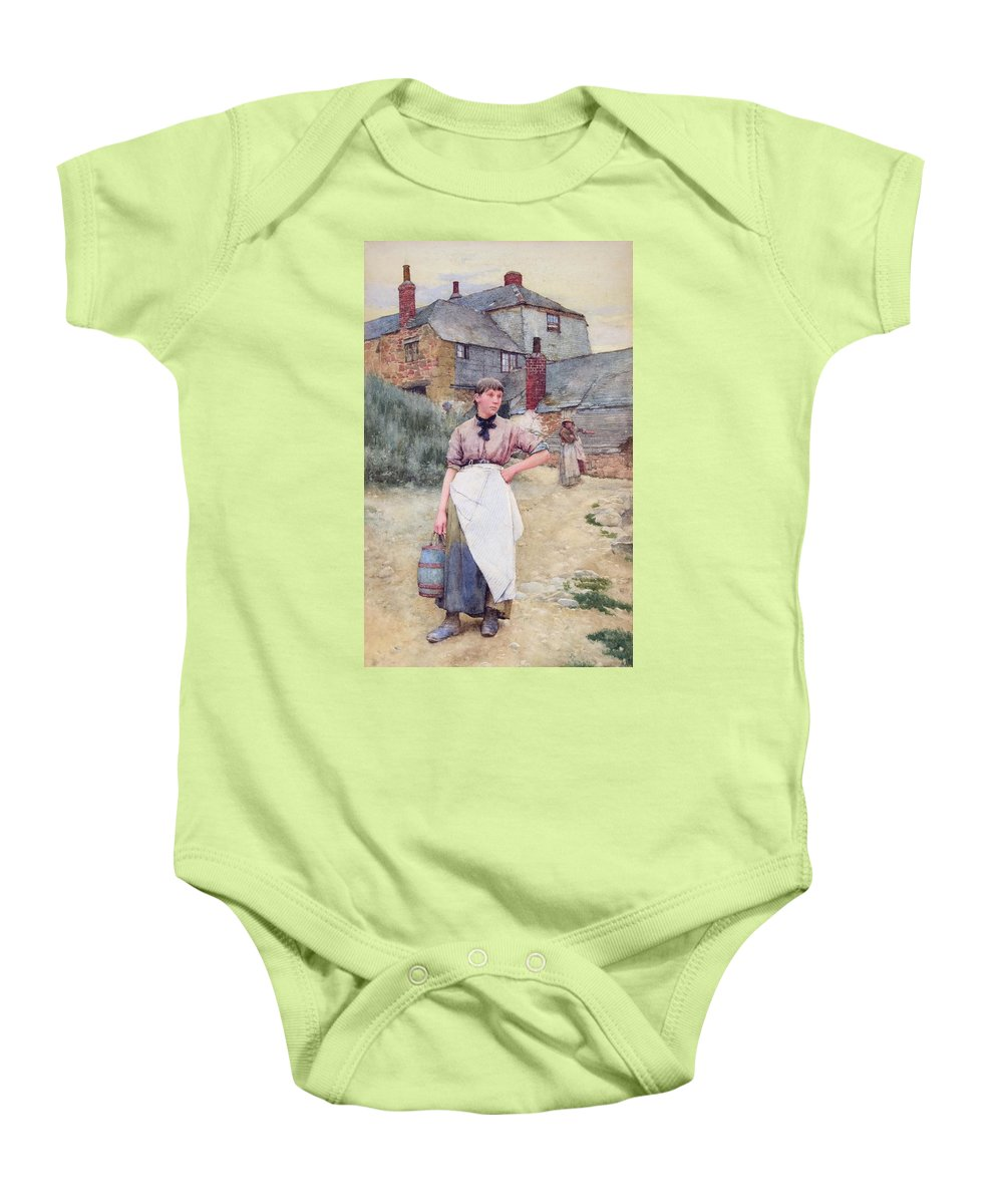 Walter Langley Baby Onesie featuring the painting Cornish Village Maiden by MotionAge Designs