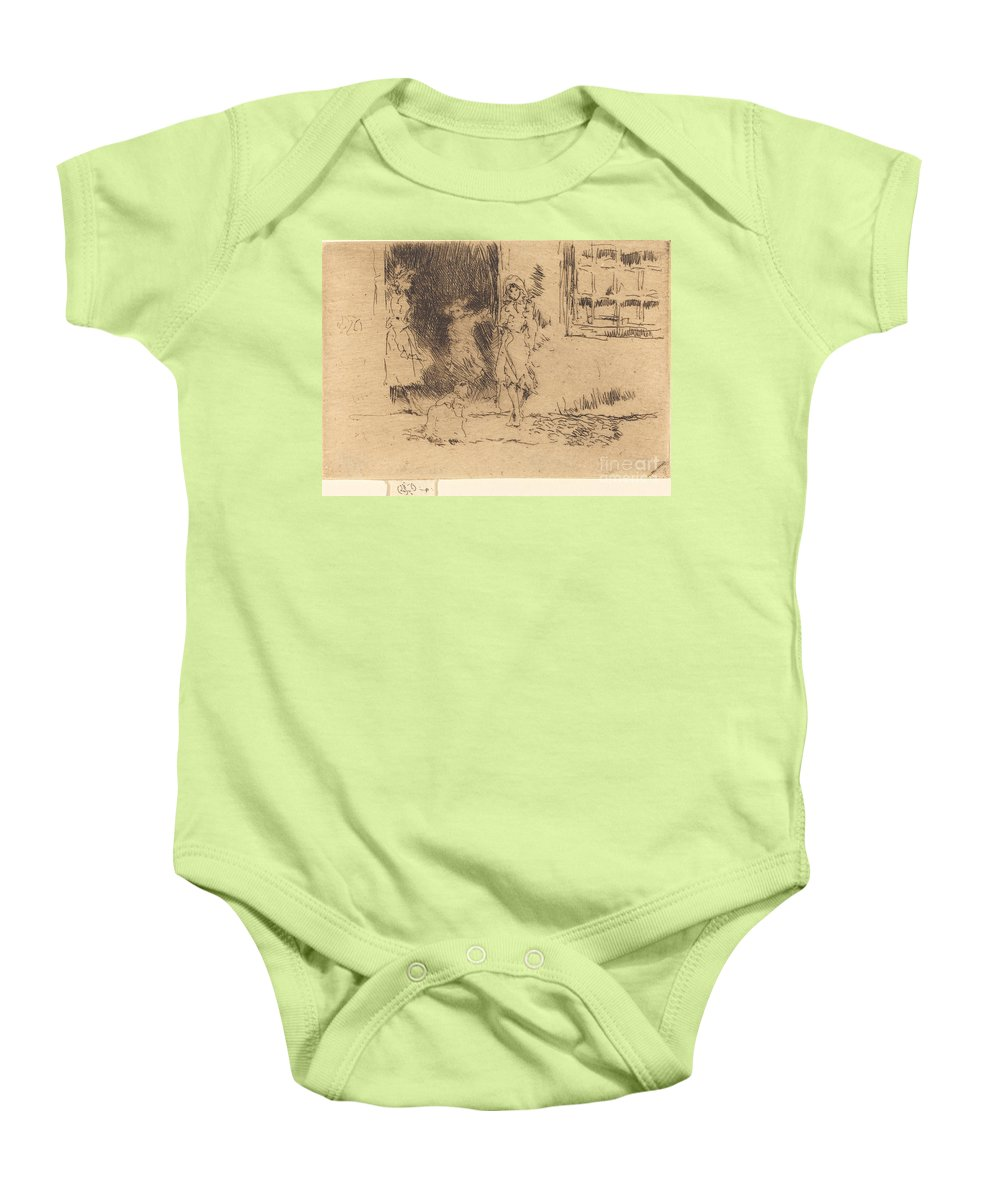Baby Onesie featuring the drawing Cottage Door by James Mcneill Whistler