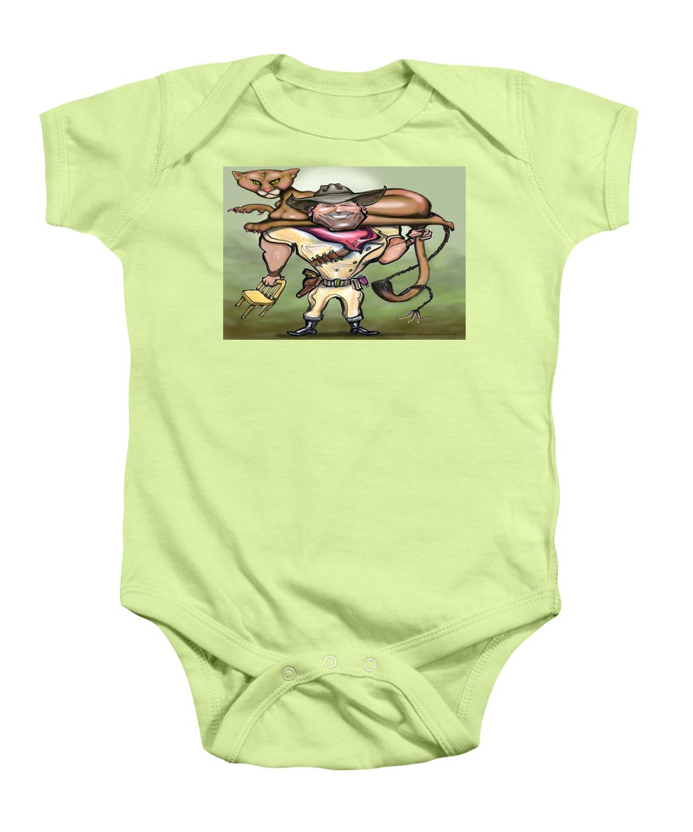 Cougar Baby Onesie featuring the digital art Cougar Trainer by Kevin Middleton