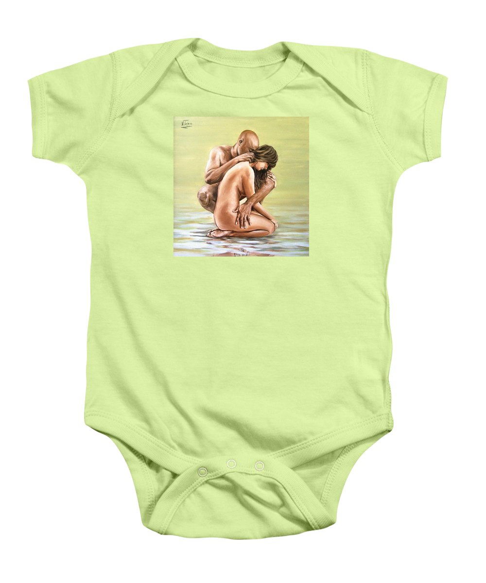 Nude Baby Onesie featuring the painting Couple by Natalia Tejera
