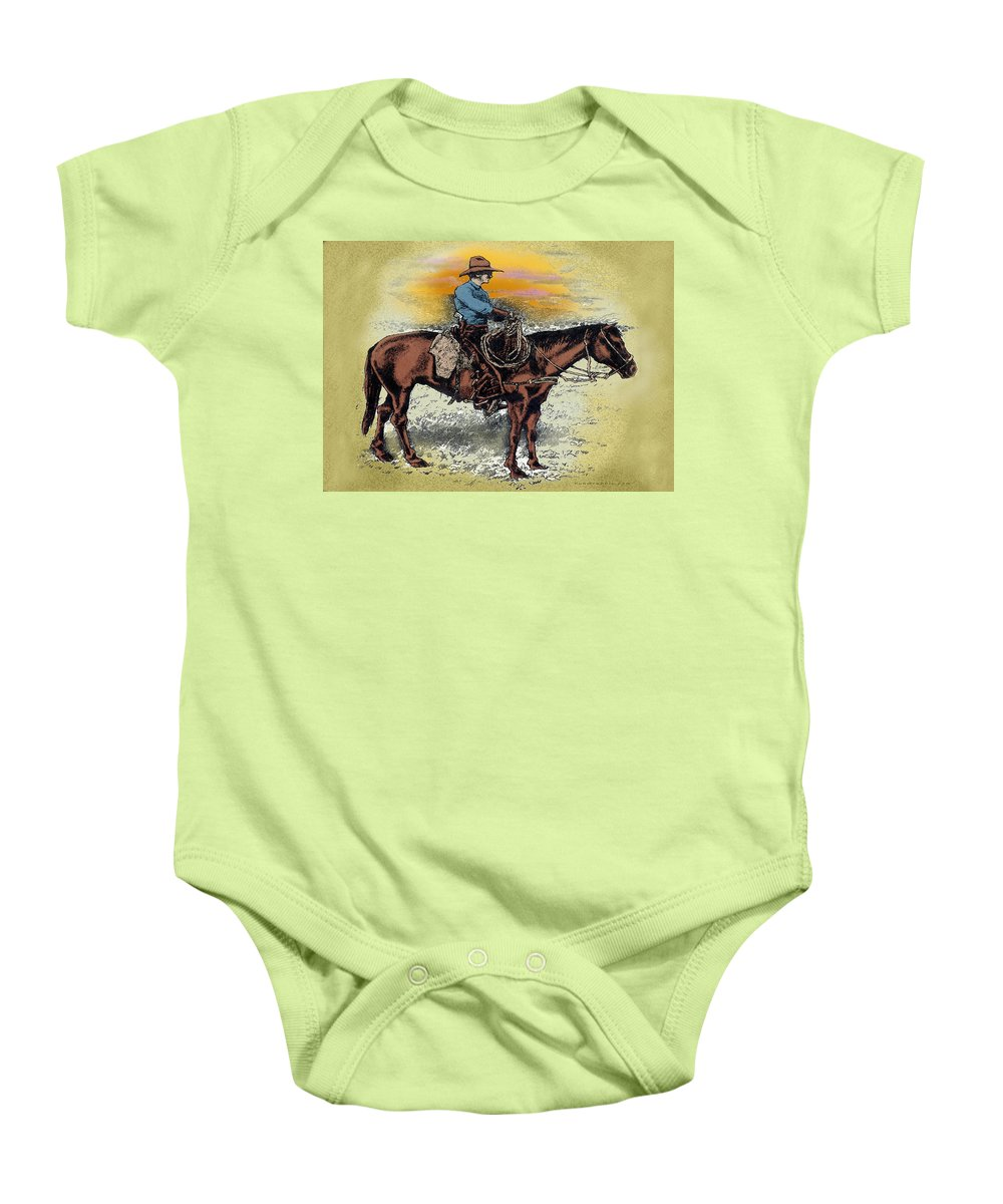 Cowboy Baby Onesie featuring the painting Cowboy N Sunset by Kevin Middleton