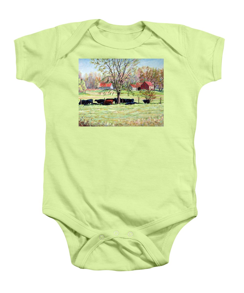 Cows Baby Onesie featuring the painting Cows Grazing In One Field by Richard T Pranke