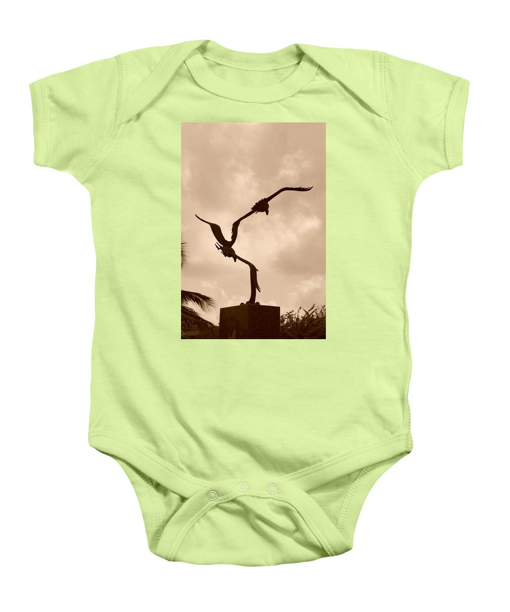 Sepia Baby Onesie featuring the photograph Dancing Birds by Rob Hans