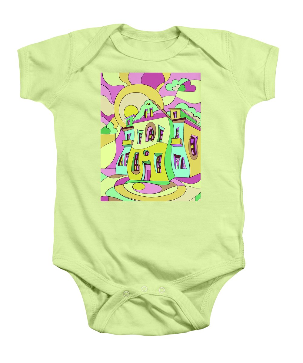 House Baby Onesie featuring the painting Dancing House by Irina Basalyga