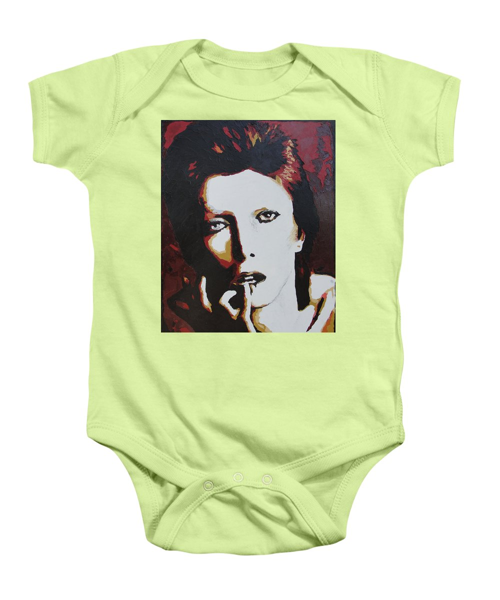 David Bowie Baby Onesie featuring the painting David Bowie by Ricklene Wren