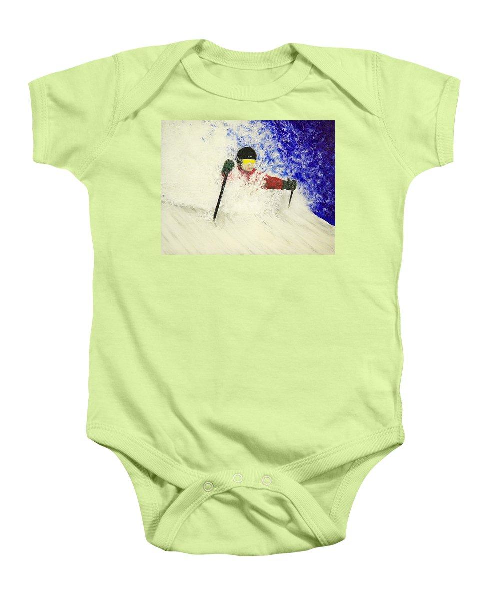 Utah Baby Onesie featuring the painting Deeeep by Michael Cuozzo
