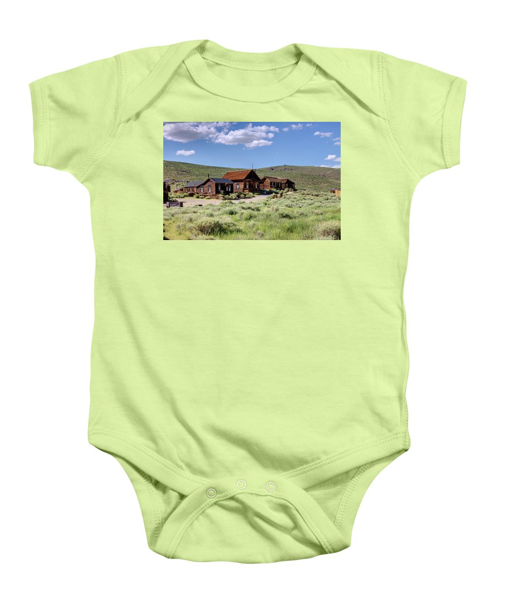 Bodie Baby Onesie featuring the photograph Deserted Dwellings by Ricky Barnard