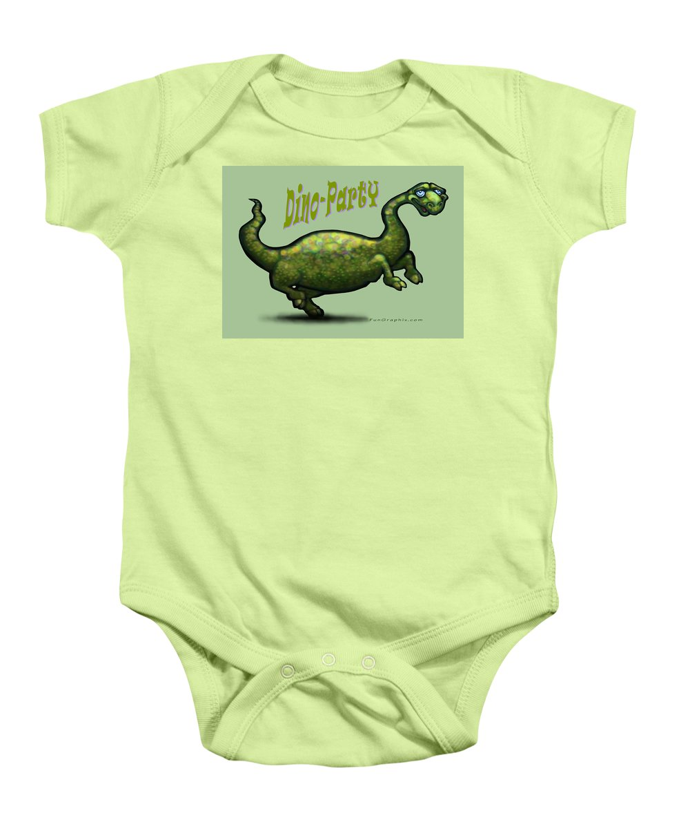 Dinosaur Baby Onesie featuring the greeting card Dino Party by Kevin Middleton