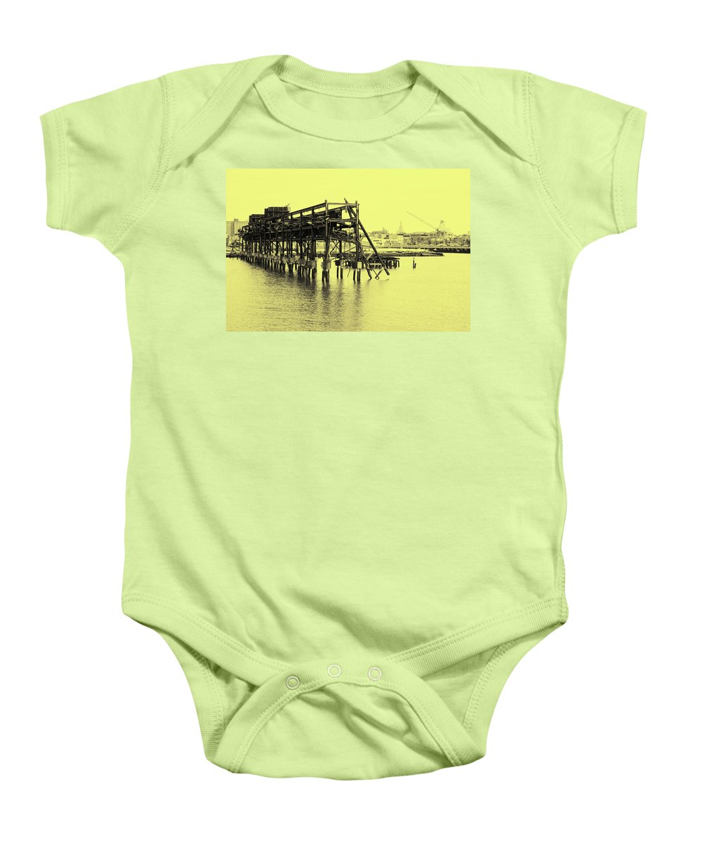 Pier Baby Onesie featuring the photograph Disappearing Pier by Cate Franklyn