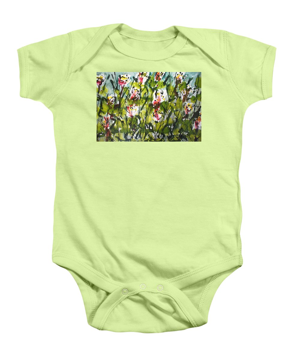 Flowers Baby Onesie featuring the painting Divine Blooms-21069 by Baljit Chadha