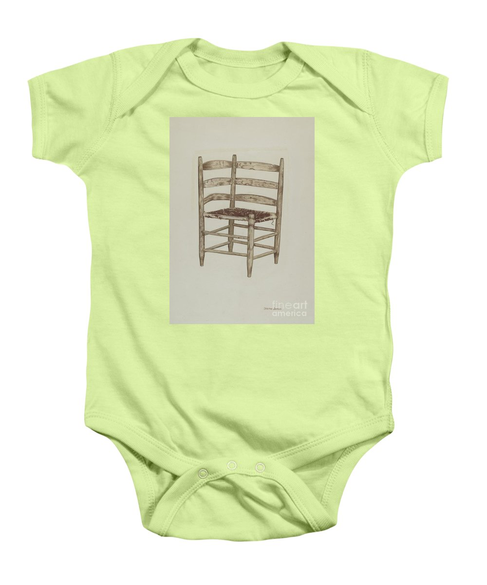 Baby Onesie featuring the drawing Double Back Chair by Dorothy Johnson