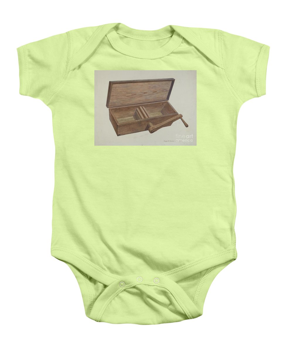 Baby Onesie featuring the drawing Dough Mixer by Roger Deats