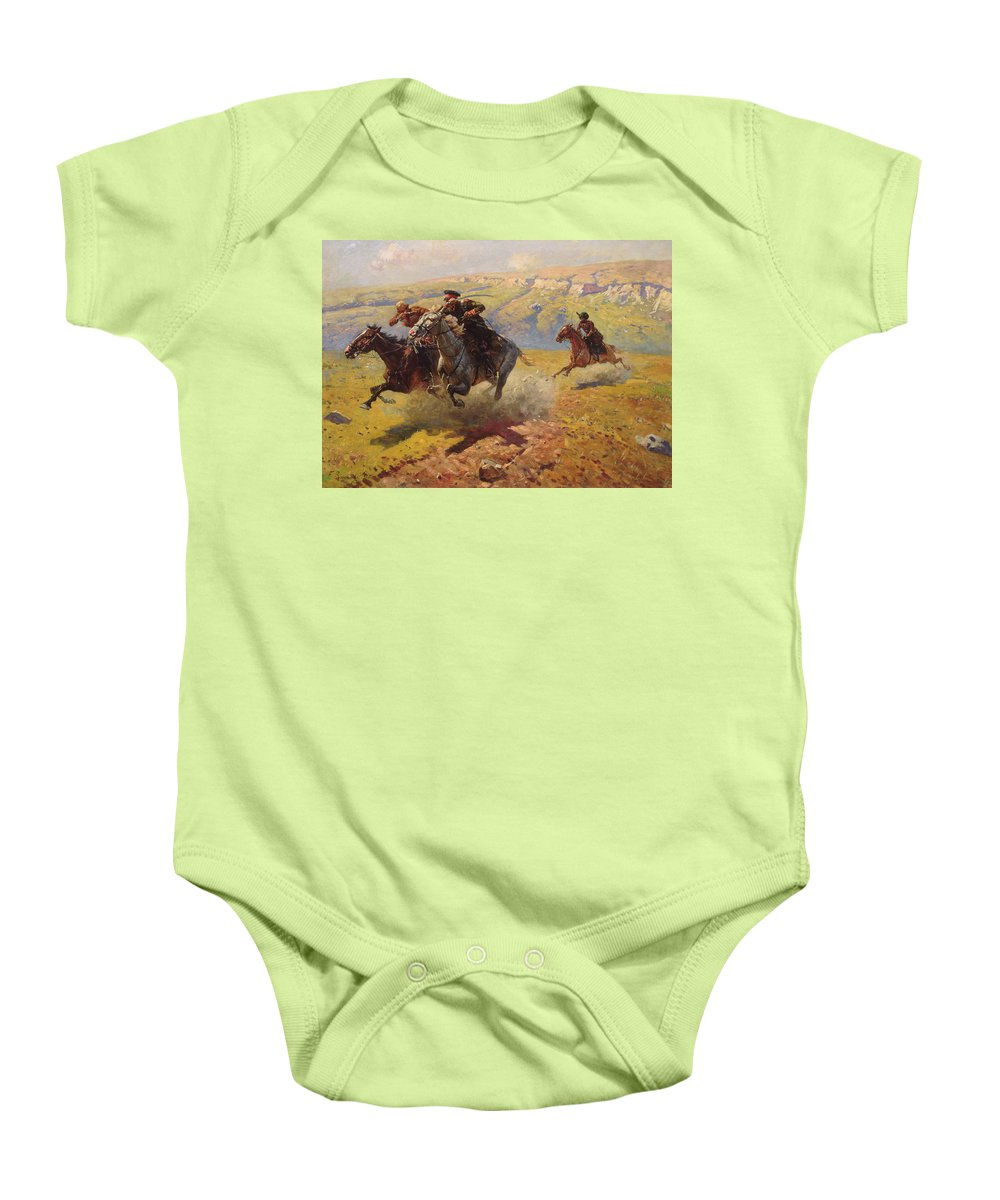 War Baby Onesie featuring the painting Duel by Franz Roubaud