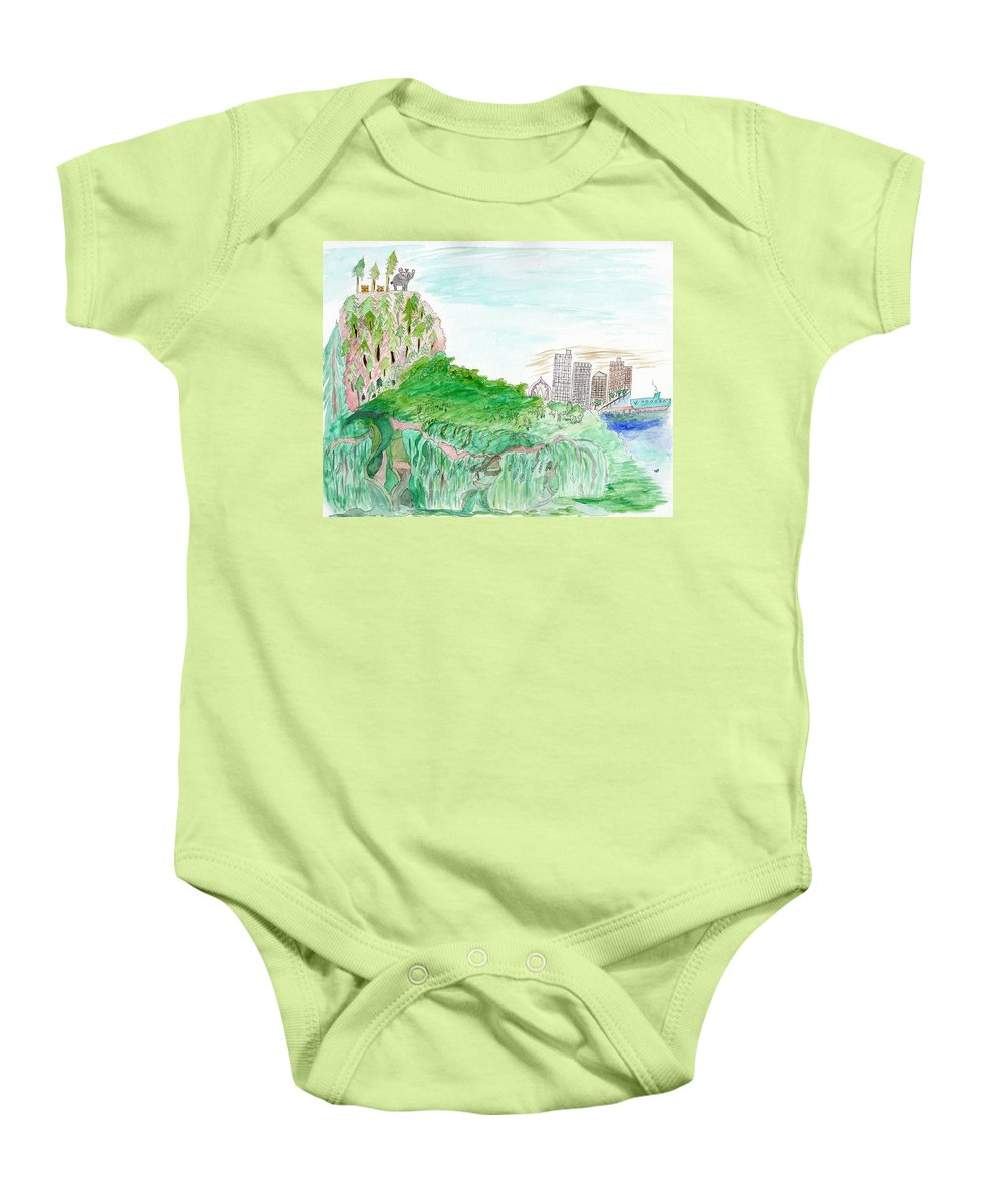 Mountains Baby Onesie featuring the painting Elephoot And Friends In Satpura Mountains In India by Helen Holden-Gladsky