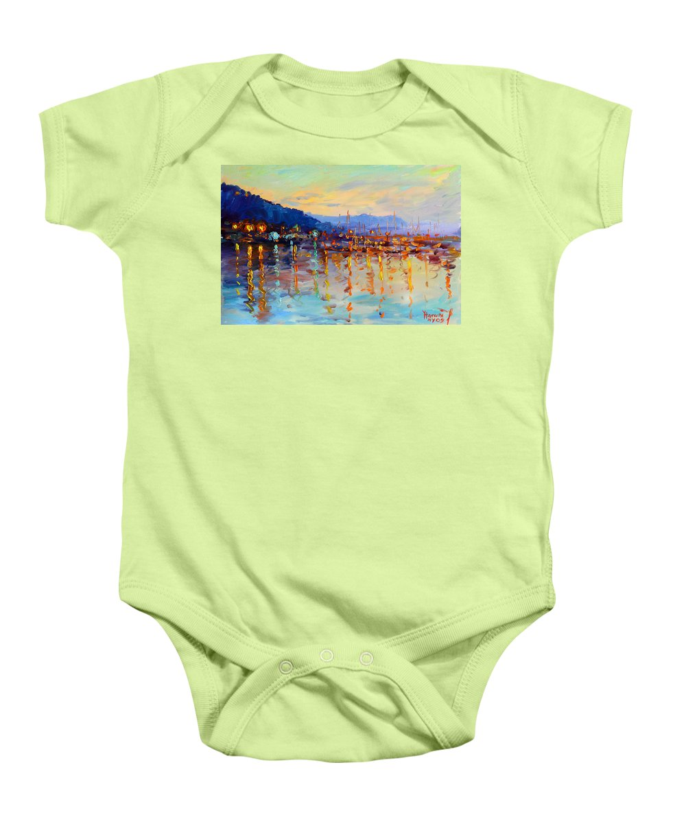Piermont Baby Onesie featuring the painting Evening Reflections In Piermont Dock by Ylli Haruni