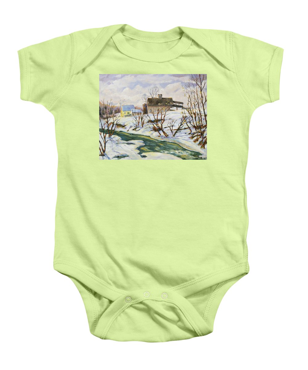 Farm Baby Onesie featuring the painting Farm In Winter by Richard T Pranke