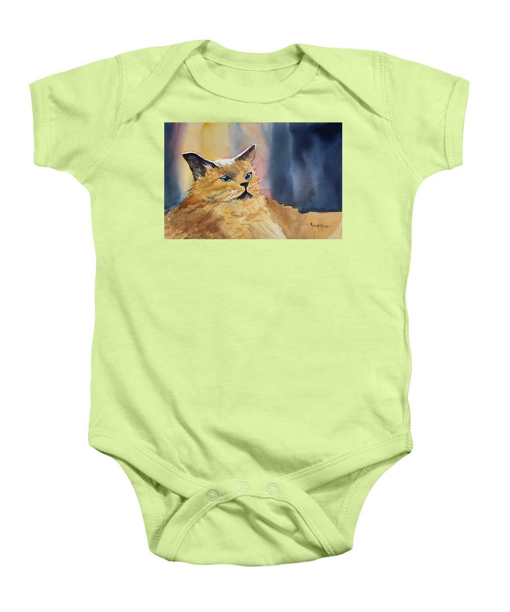 Landscape Baby Onesie featuring the painting Fat Cat by Ryan Radke