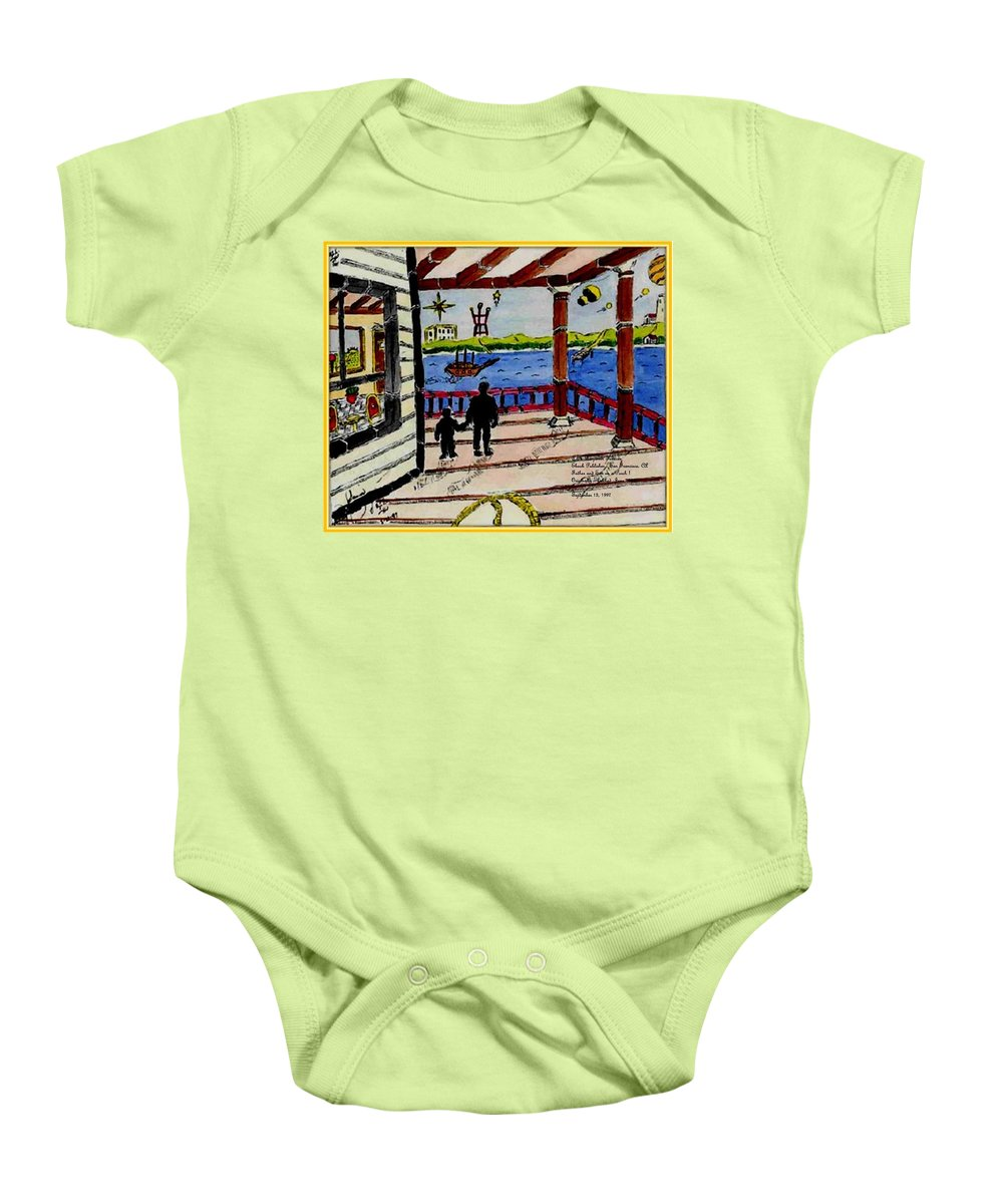 Boy Baby Onesie featuring the painting Father And Son On The Porch by Anthony Benjamin