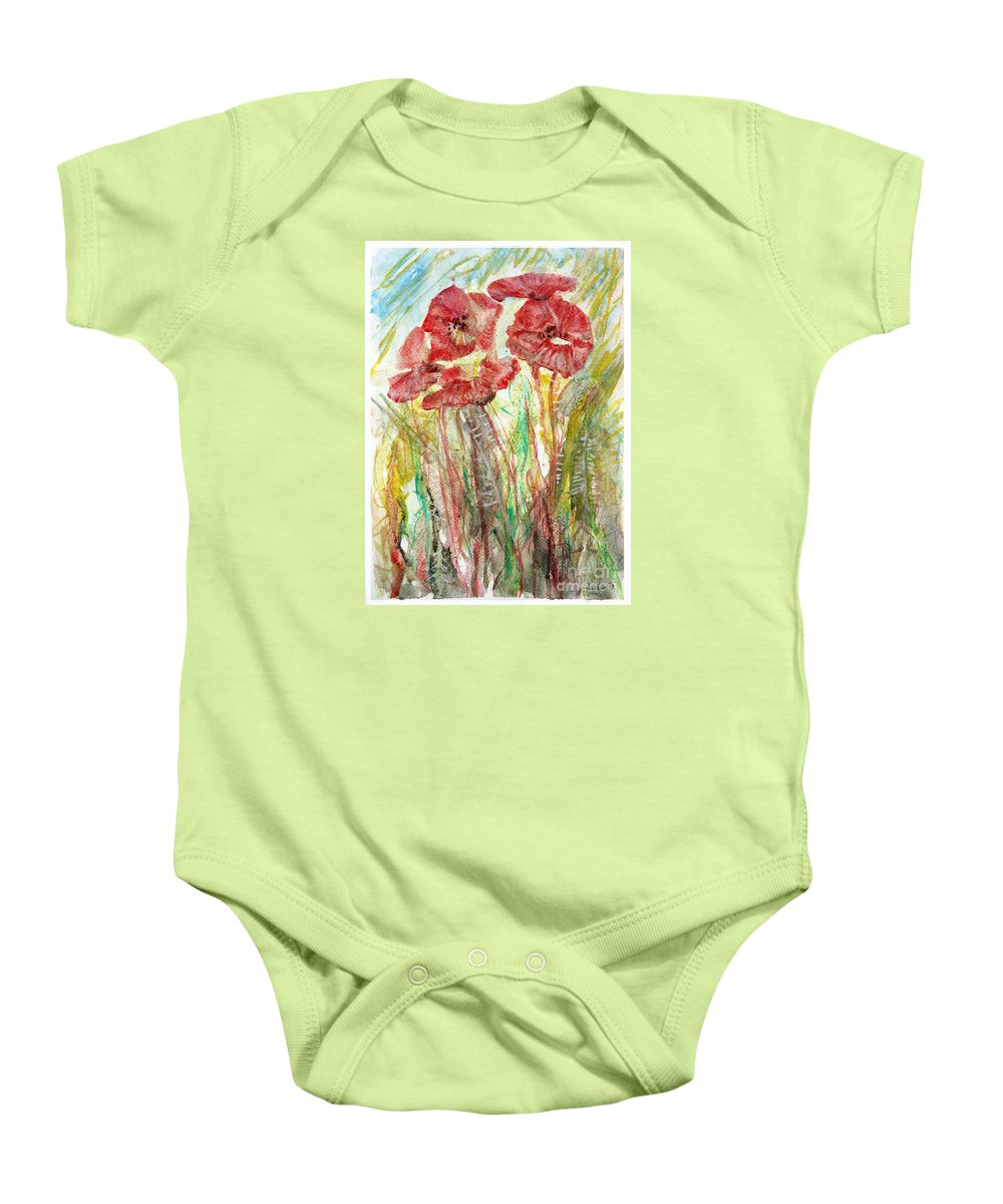 Flowers Baby Onesie featuring the painting In The Field by Jasna Dragun