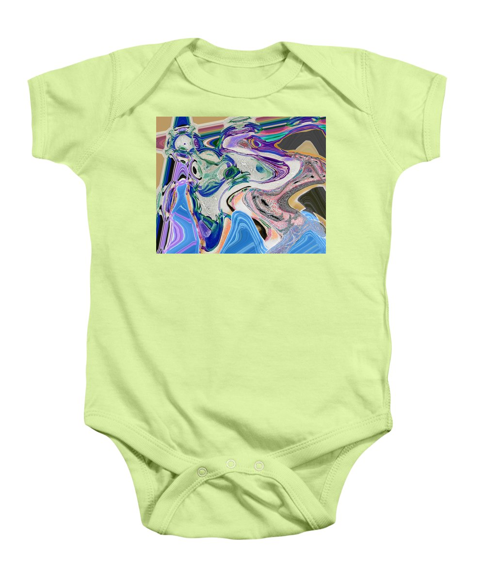 Abstract Baby Onesie featuring the digital art Fish by Lenore Senior