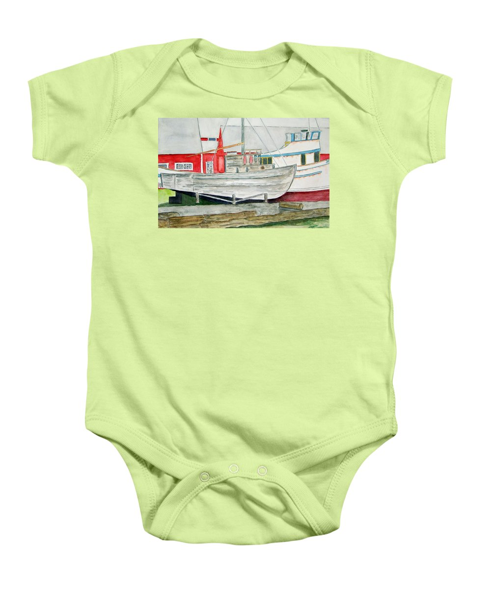 Alaska Art Baby Onesie featuring the painting Fish Out Of Water by Larry Wright
