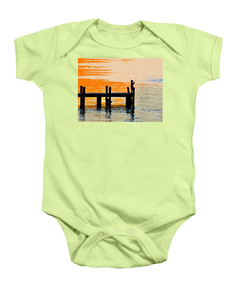 Boy Baby Onesie featuring the painting Fishing Boy by David Lee Thompson