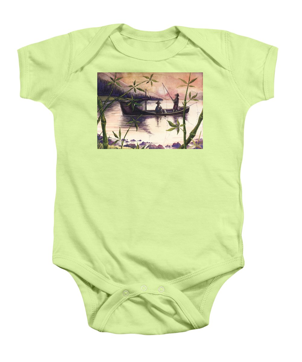 Fishing Baby Onesie featuring the painting Fishing In The Sunset  by Alban Dizdari