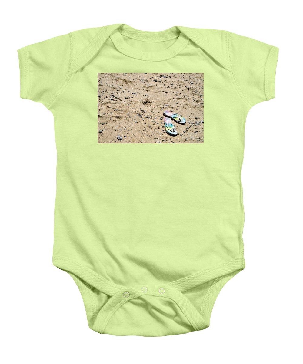 Beach Baby Onesie featuring the photograph Flipflops by Louise Heusinkveld