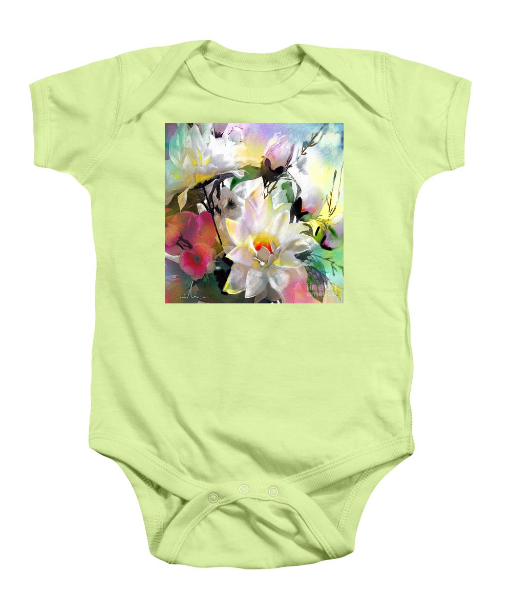 Flowers Painting Drawing Art Baby Onesie featuring the painting Flowers For My Friend by Miki De Goodaboom