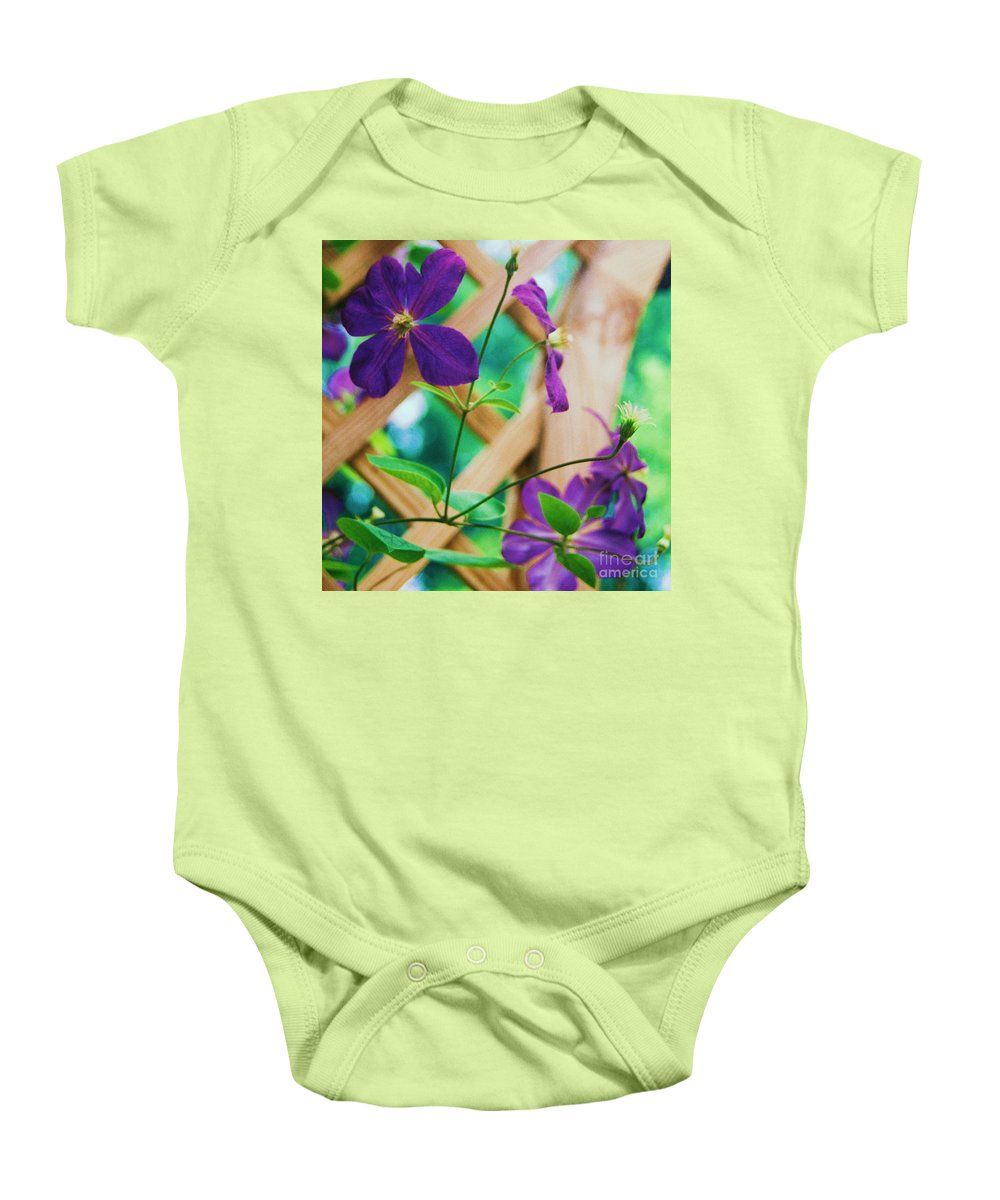 Floral Baby Onesie featuring the painting Flowers Purple by Eric Schiabor