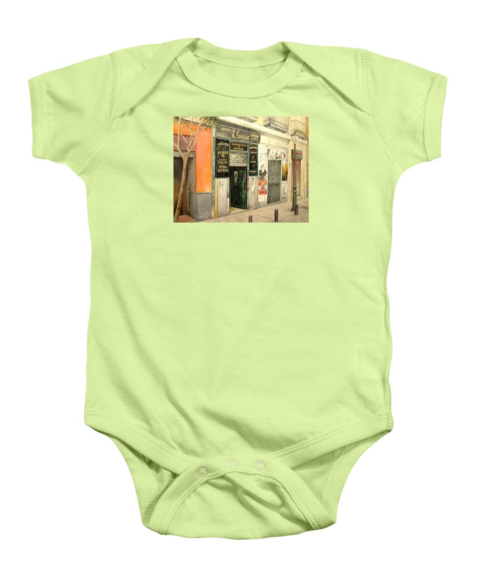 Streetscene Baby Onesie featuring the painting Fontaneria E.garcia by Tomas Castano