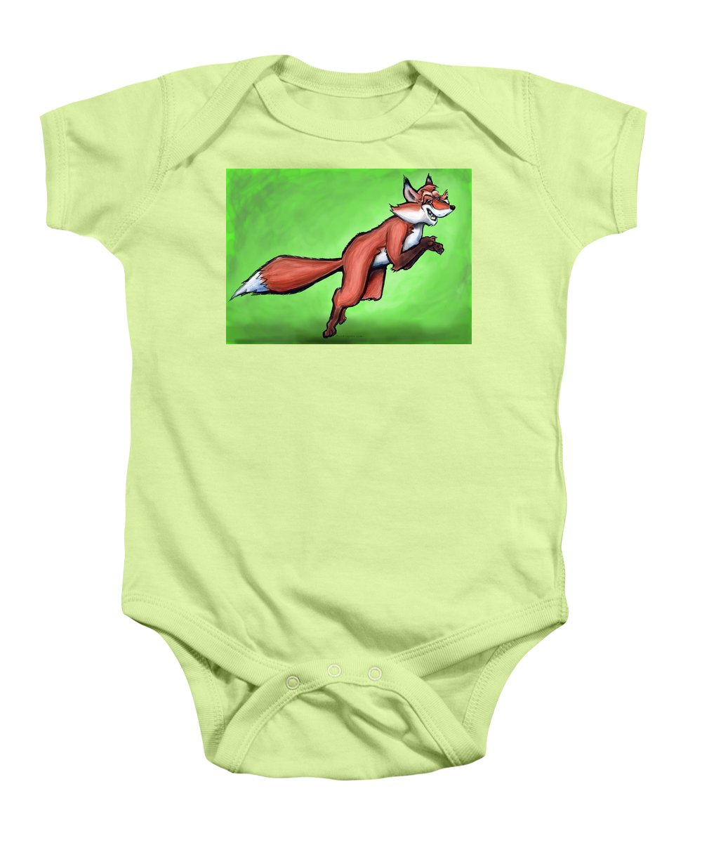 Fox Baby Onesie featuring the greeting card Fox by Kevin Middleton
